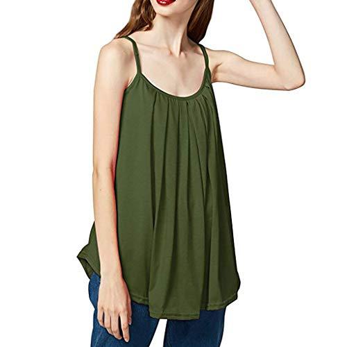 Womens Losse Mouwloze Camisole Dames Effen Kleur Plus Size Basic Tank Top, Mode O-hals Onregelmatige zoom Vest