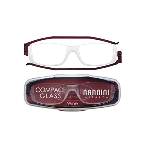 老眼鏡 コンパクトグラス2 nannini リーディンググラス 男性用 女性用 メンズ レディース シニアグラス 全12色(+2.00,ワイン)