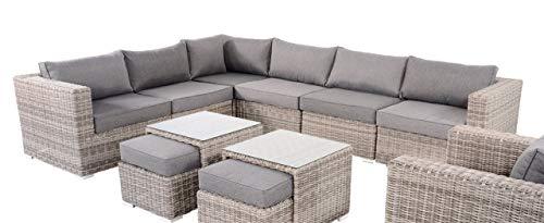 lifestyle4living Gartenbank 6 Sitzer aus Polyrattan Geflecht in grau inkl. Kissen. Die Loungebank ist wetterfest, ideal für Garten, Terrasse und Balkon.