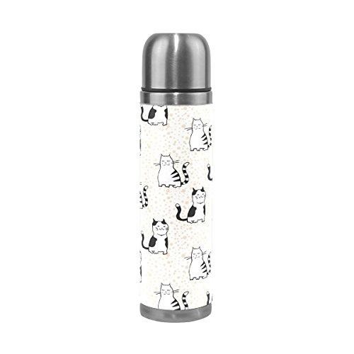 FFY Go Travel Mug, Chat Mignon Motif imprimé personnalisé Thermos en Acier Inoxydable Leakproof Thermos Isotherme extérieur Cuir pour Filles garçons 500 ML