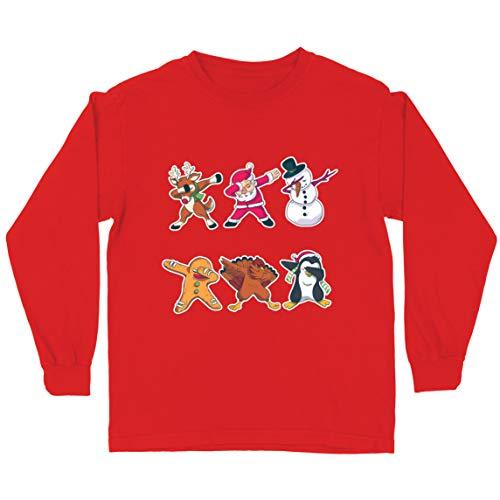 lepni.me Camiseta para Niño/Niña Dab de Navidad - Dabbing Papá Noel Ciervo muñeco de Nieve (5-6 Years Rojo Multicolor)