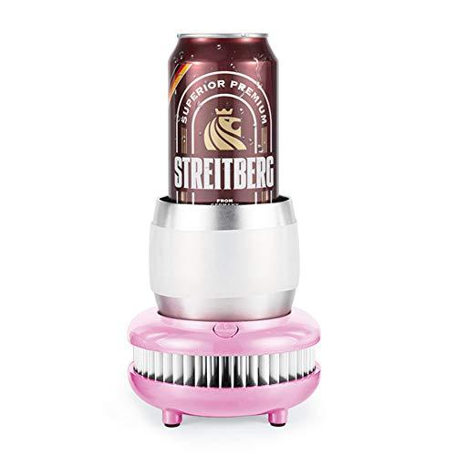 Tragbare Mini Kühlschrank Tasse, Sommer Getränkekühler Wasserkocher Trinken Instant Cooling Cup Car Home Cooler Gefrierschrank für den Sommer,Pink