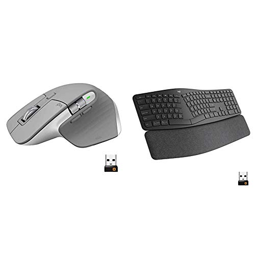Logitech MX Master 3 Advanced Wireless Mouse - Mid Grey & Ergo K860 Wireless Ergonomic Keyboard with Wrist Rest - Split Keyboard Layout for Windows/Mac, Bluetooth or USB Connectivity