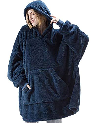 Manta con capucha, suave, de gran tamaño, con capucha, bolsillo delantero, cálida manta de invierno, para hombres, mujeres y niñas