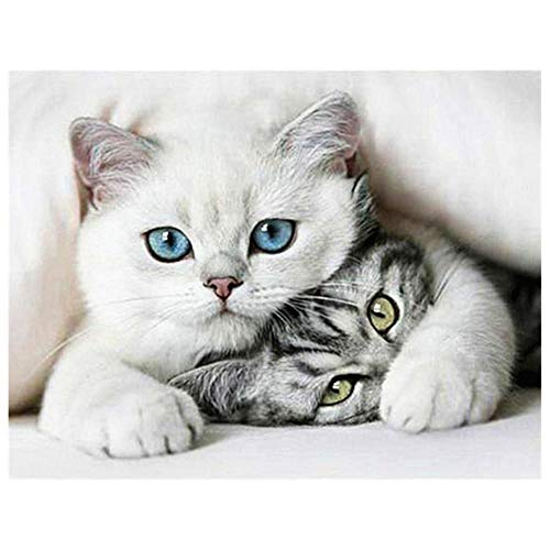 5D DIY Diamond Painting by Number Kit White Cat Round Drill,90x70cm Adults and Kids Full Drill Beads Crystal Rhinestone Embroidery Cross Stitch Picture Supplies Arts Craft for Home Wall Decor U4231