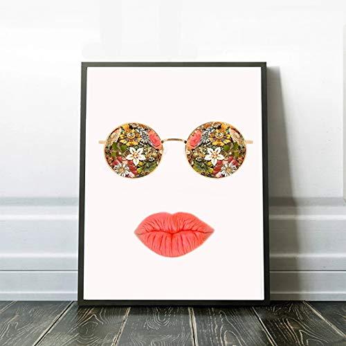 MINMIN Pintura Impresa Gafas de Sol Hippie para decoración de habitación de niñas, Cartel de Labios Rojos, Elegante, Deshilachado, Colorido, Sexy Regalo -24x36inch