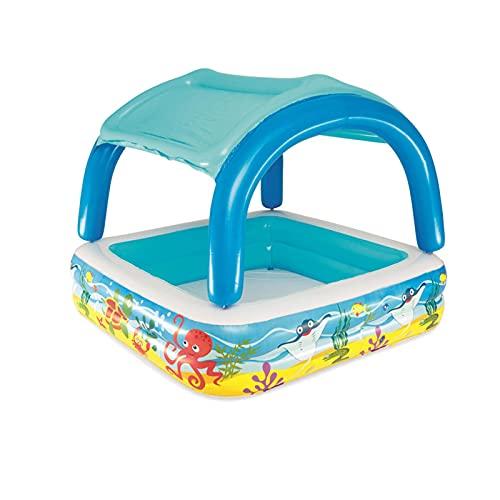 Piscina Hinchable Infantil 1 A 3 Años con Parasol Piscina Inflable Bebe, Fuerte Poder Amortiguador Puede Acomodar De 1 A 3 Niños Equipado con Un Toldo para Proteger De La Luz Solar, 140×140×114cm