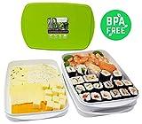 Greenline Frischhalte-Stapelbox Vegan Natürlicher Bio-Kunststoff aus Zuckerrohr 4er Set 4 x 0,9 l und 2 Deckel ideal als Aufschnitt-Box zum Servieren BPA-frei Spülmaschinenfest