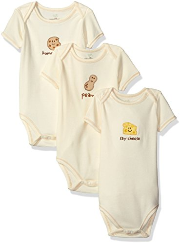 Touched by Nature Baby Organic Cotton Bodysuits, Peanut, 9-12 Months