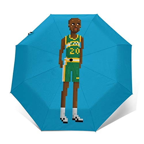 Gary Payton Ganzkörper-Pixel-Regenschirm, Winddicht, kompakt, automatisch, faltbar, Reise-Sonnenschirm