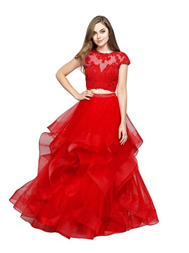 Emmani Women's 2 Piece Prom Dress Lace Applique Quinceanera Dress Layered Ruffle Organza Sweet 16 Dress Ball Gown (Apparel)