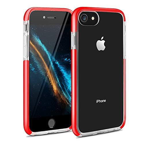 iPhone SE 2nd Generation Case iPhone 6/7/8 Case, Crystal Clear Shockproof Cover Bumper Protective Transparent Case for iPhone7/iPhone8/iPhone6/iPhoneSE 2020(Red)
