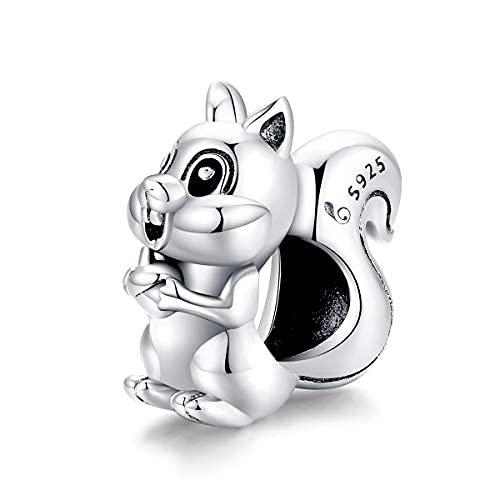Teleye Abalorio de pulsera de plata de ley 925 con diseño de ardilla, compatible con pulseras Pandora, pulseras europeas (BSC338)