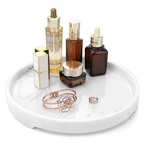 MoKo Sminkbricka, rund harts bricka dekorativ catchall organisatör förvaringsbricka för badkar tillbehör toalett tank sovrum byrå kosmetika smycken vardagsrum kök bänkskiva – vit marmor