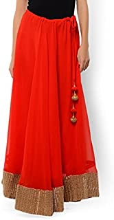 NIKA Women's Georgette Solid Gold Gota Patti Border Long Skirt by Kaanchie Nanggia (KNA-2099_Red_Freesize)