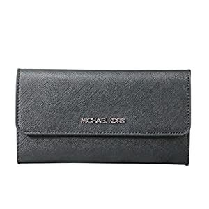 Michael Kors Jet Set Travel Trifold Leather Wallet Black, Large 20