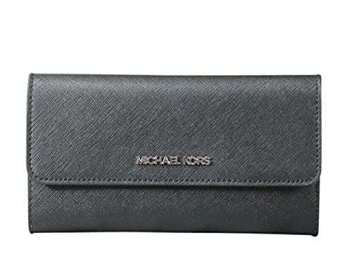 Michael Kors Jet Set Travel Trifold Leather Wallet Black, Large 1
