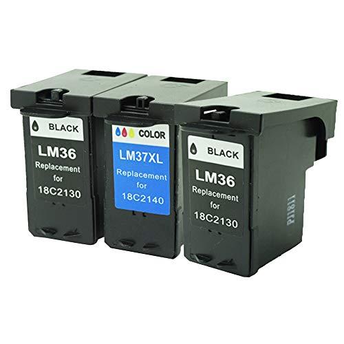 caidi 3Pack–remanufacturados Lexmark 36X L 37x l Cartucho de tinta compatible para Z2420, X3650, X4650, X5650, X5650ES, X6650, X6675impresoras (2x negro, 1x Color)