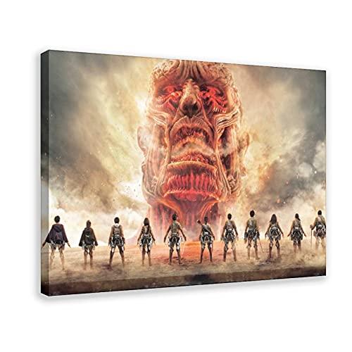 Póster de anime japonés de Ataque a los Titanes 28 en lienzo para decoración de la sala de estar, dormitorio, marco de decoración de 60 x 90 cm