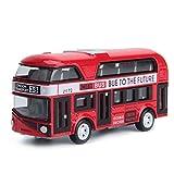 XLAHD Recorrido turístico Doble autobús Rojo de Juguete Juguete de aleación Diecast Techo Abierto Autobus Autobus Mold Escala Pull-Back Bus