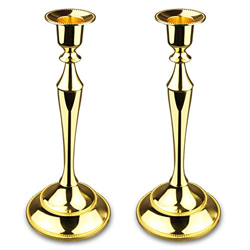 Metal Taper Candle holder,Set of 2,Gold