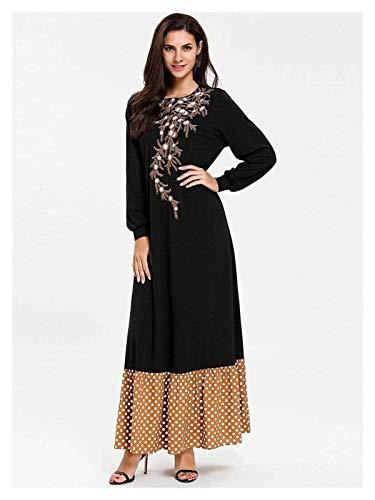 ZAJ Emierno Floral Mujeres étnicas Muslim Maxi Vestido Patchwork Islámico Marruecos Marroquí Kaftan Dubai Vestido de Roba de la Noche 1 unids (Color : Black, tamaño : XXXX-Large)