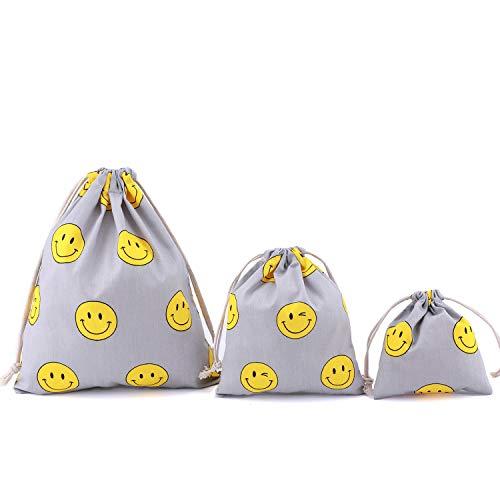 Amoyie-Lot de 3/4 adorables sacs de rangement réutilisables avec cordon de serrage pour accessoires de maquillage, de voyage, quotidiens, couches-culottes, vêtements d'enfant rouge flamant rose 3 pcs