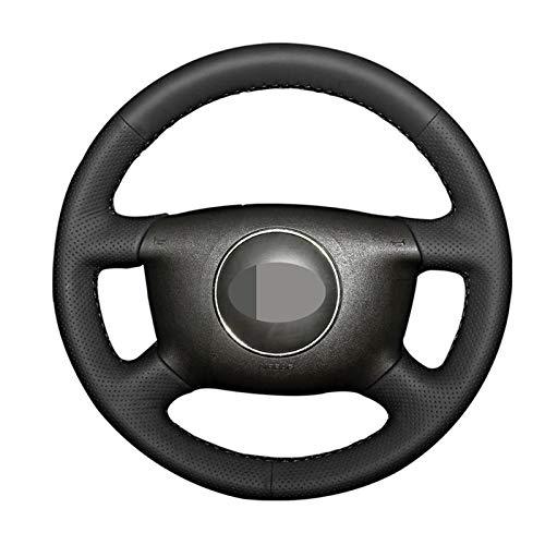 JIERS Cubierta del Volante del Coche, para Audi A8 (D2) S4 A2 (8Z) A3 (8L) Sprotback A4 (B5 B6) Avant A6 (C5), Cubierta de Volante de Coche de Cuero Negro