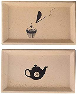 storeindya Ceramic Serving Platters Decorative Trays - Hand Painted Coffee Table Tray Home Office Kitchen décor Accessories (Cupcake Teapot Bee-Beige)