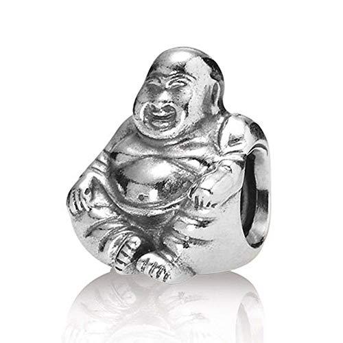 DIAN Jewellery Abalorio de meditación de Buda sonriente, plata de ley 925, compatible con pulseras europeas, cuentas de la suerte, regalos espirituales para mujeres