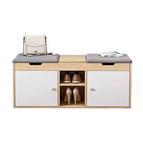 AOIWE Taburete de madera suave para zapatos, moderno y contemporáneo, acolchado con dos estantes abiertos, para pasillo y zapatos, cómodo y texturizado