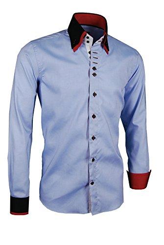 Giorgio Capone Premium Design Herrenhemd, blau - schwarz - rote Akzenten an Kragen und Manschetten, Langarm, Button-Down-Kragen, Slim/Normal & Regular-Plus Fit (XXL Regular-Plus mit Brusttasche)