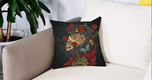 Square Soft and Cozy Pillow Covers,Calavera, malvado esqueleto mexicano de azúcar con Kitsch Bush of Roses Serpiente y mariposa Il,Funda para Decorar Sofá Dormitorio Decoración Funda de almohada.