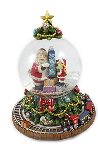 Creation Gross Schneekugel mit Spieluhr als Weihnachtsbaum, rotierender Sockel mit Zug, H.: 18cm Ø100mm Lied: We Wish You a Merry Christmas