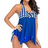 Swimsuits for Women Two Pieces Hosamtel Tankini Sets Polka Dot Print Tummy Control Bikini Bottoms Swimwear Bathing Suit