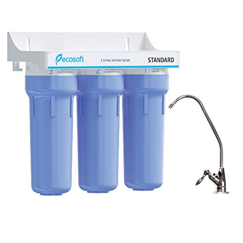 Ecosoft 3-Stage Under Sink High Capacity Tankless Drinking Water Filtration System-Includes Sediment 2X CTO Carbon Block Filters with Kitchen Faucet