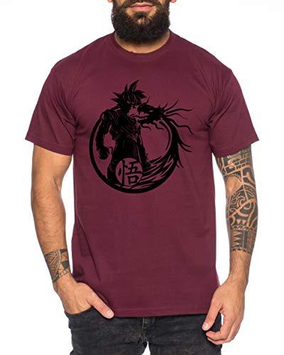 Tee Kiki Son Dragon - Herren T-Shirt Son Ruffy Luffy Naruto Saitama One Dragon Master Goku Ball Vegeta Turtle Roshi Piece Golds Db, L, Weinrot