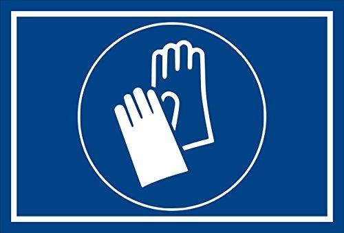 Schild - Gebots-zeichen - Hand-schutz benutzen - entspr. DIN ISO 7010 / ASR A1.3 – 15x10cm mit Bohrlöchern   stabile 3mm starke PVC Hartschaumplatte – S00361-017-E +++ in 20 Varianten