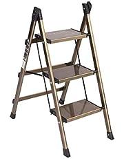 Escalera plegable de aluminio liviana y escalonada de escalera 2 en 1 con antideslizante Robusto y amplio Taburete de escalera con pedales anchos para fotografía, hogar y pintura 330 lbs.
