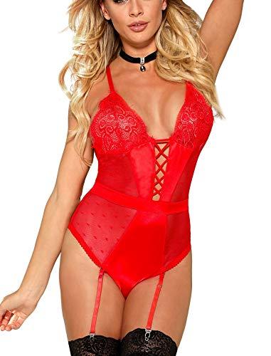marysgift Dessous Corsage Damen Spitzenbody Bodysuit Nachtwäsche mit Strumpfband Rot Reizwäsche große größen 5XL 48 50