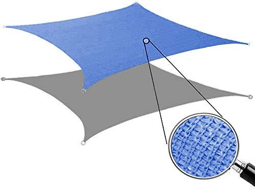SHONCO Tende da Sole per Esterno, Vela Ombreggiante,Tenda a Vela Rettangolare Metri,Telo da Sole in HDPE Protezione Solare Respirante Anti UV Giardino Esterni (2x3m, Blu)