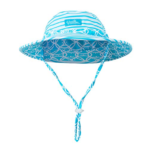 UV SKINZ UPF 50+ Girls Swim Hat - Hibiscus Floral Stripe - 6/8