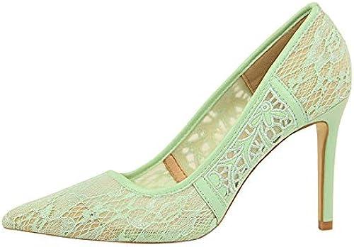 FLYRCX Frühling und Sommer Retro atmungsaktive Mesh-Spitze zeigte High Heels Damen fein mit flachen Mund Einzelne Schuhe Hochzeit Schuhe