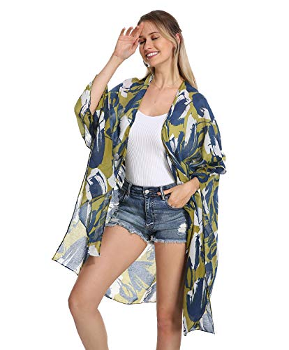 Women Kimono Swimsuit Cover Up Cardigan - Tropical Chiffon Print Swimwear Beach Bathing Bikini Coverup Boho Batwing Loose Tops Outwear Kimono Dress Plus Size Loose Sleeve Shaw Blue Green Graffiti
