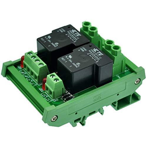 ELECTRONICS-SALON montaje en carril DIN bobina 12 V 2 canal pasivo SPST-NO 30 A 30Amp Relé de potencia módulo.