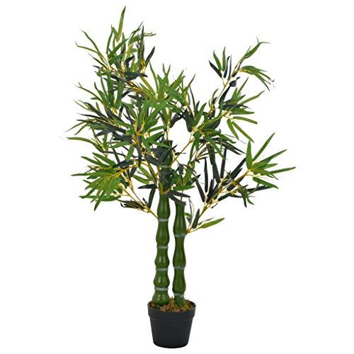Festnight Planta Artificial Interior Planta Artificial Bambú con Macetero 110 cm Verde y Marrón