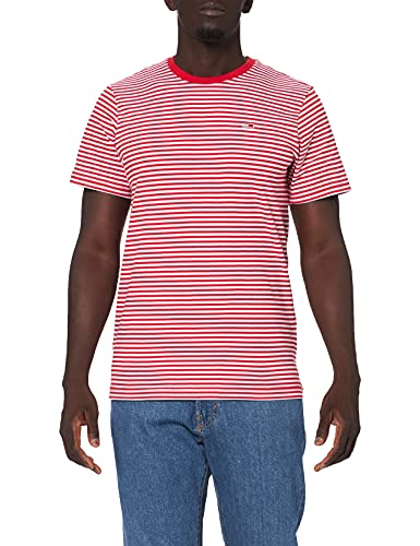 Tommy Jeans TJM Tommy Classics Stripe tee Camiseta, Carmesí profundo blanco, L para Hombre