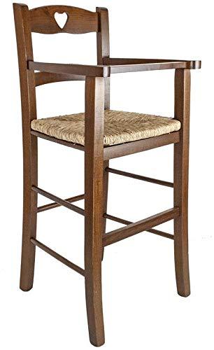 MAURY'S Seggiolone in Legno di Abete con Comoda Seduta 36 x 38 x h 87 cm (Noce)