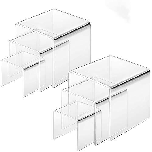 Cliselda 6 Stück Acryl Display Riser, Schmuck Display Riserin 3 Verschiedene Größe (3 x 3 x 3 Zoll,4 x 4 x 4 Zoll, 5 x 5 x5 Zoll)