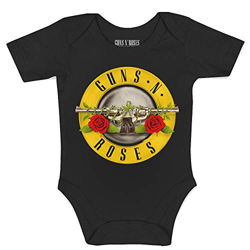 Monos para bebés Manga Corta Guns N' Roses, Classic Bullet Logo, Official Merchandise, Producto Original, 0-3 Meses
